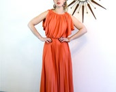 Vintage 70s Maxi Dress Draped Grecian Goddess Orange Tiered Split Sleeve Bare Shoulder Pleated Draping 1970s Romantic Long Disco Dance Dress