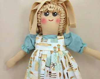 Plastic Bag Holder Doll, Retro Kitchen, Aqua Kitchen Decor, Grocery Bag Holder, Rustic Kitchen, Rag Doll, Kitchen Accent, Kitchen Storage