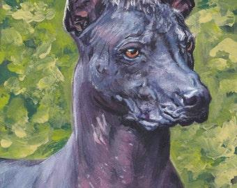 "standard Mexican Hairless dog art Xoloitzcuintli xolo CANVAS print of LAShepard painting 12x16"""