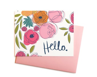 Peony Bouquet Hello, Feminine and Bright Floral Thank You Note, Spring Flowers Card