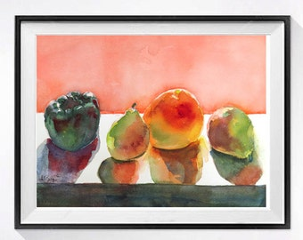 Original Kitchen Wall Art Fruit still life Pink painting Watercolor painting Kitchen decor collectible painting, Pears and pepper 10 x 13
