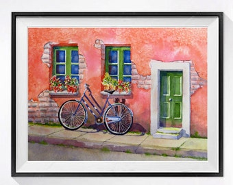 Italian Bicycle Watercolour PRINT, Travel Italian village poster bike art, Italian cityscape bicycle art, pink painting LaBerge Muren Studio