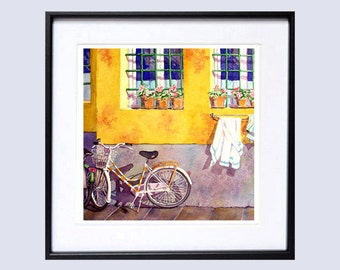 Old Window Art Watercolor Print Watercolour print Watercolor painting old window flower box Yellow painting wall art window wall art A