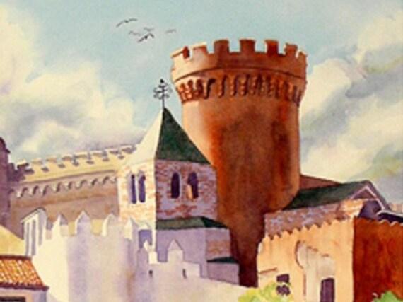 Spanish Castle Landscape Art / Watercolor PRINT / Fine art Spanish woodlands / Romantic painting / Castle art / Castle Landscape