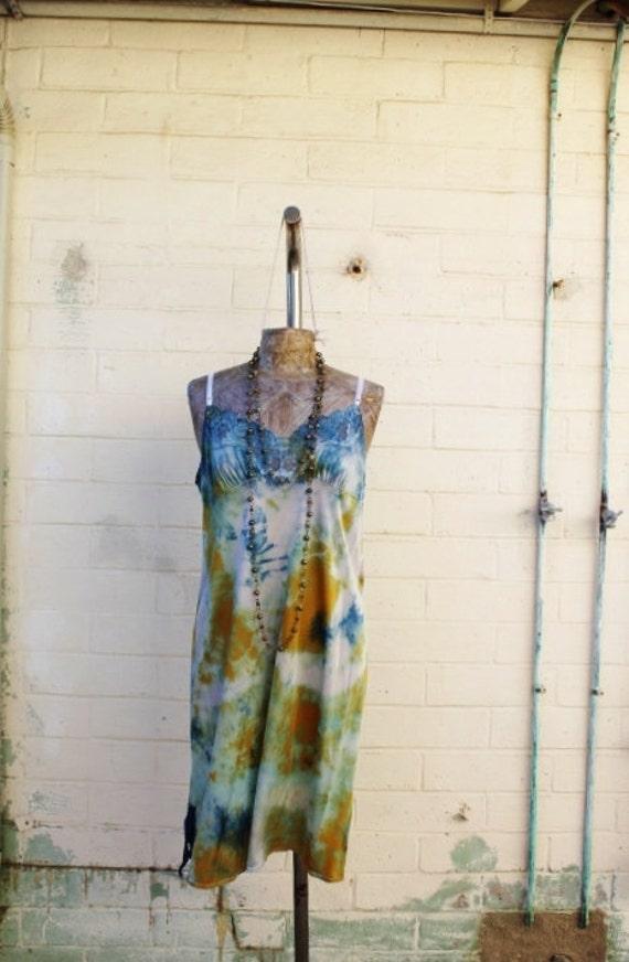 Large Tie Dye Sundress/Music Festival Clothing/Burning Man/Festival Eco Chic Dress/Upcycled Recycled Clothing/ Fairy Dress/Mermaid Dress