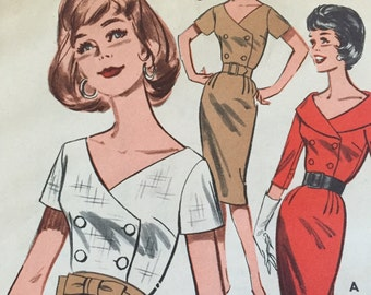 Vintage 1950's Butterick Printed Pattern 9596 - Pretty Double Breasted Dress - Size 14 - Bust 34