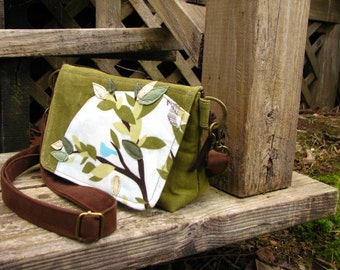 Rustic Waxed Canvas Bird in a Tree Shoulder Bag/ Minimalist Bag/4 Large interior pockets/ Large Back zipper pocket on back