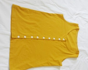 Medium Yellow Ready to Ship Button Up Tank Top Organic Cotton Jersey Knit Tank top  Made in the USA - Organic Cotton Clothing