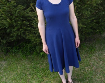 Sale Ready To Ship Blue Small Womens Cotton Jersey Knit Dress