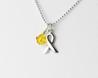 Endometriosis Awareness Necklace - Yellow Crystal Charm Necklace - Sterling Silver Ribbon Charm - Deployed Military, Suicide, Bladder Cancer