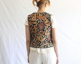 vintage embroidered boho gypsy vest