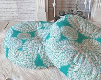Boho Floor Pillow // Round and Square Sizes // Boho Chic // Delightful Doilies Tiffany Design // Aqua // Dorm Decor // Home Decor // Pretty