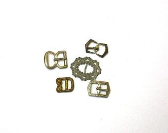 Vintage 30s Sash Belt Buckles Ladies 5 Small Silver & Gold Metal Buckles