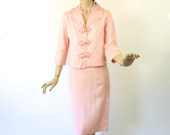 Vintage 70s Spring Suit Ladies Pink Silk Short Jacket & Straight Skirt Bust 36 Size 10