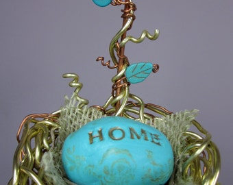 Hanging Beaded Wire Nest Crystal Sun Catcher Mobile with Clay Egg