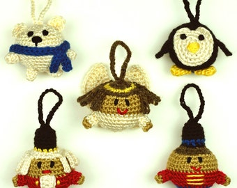 Christmas Character Ball Ornaments - Set #2 - PDF Crochet Pattern - Instant Download