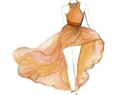 Rose Gold Gown, print from original watercolor and pen fashion illustration by Jessica Durrant