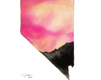 Nevada at Dusk, print from original watercolor illustration by Jessica Durrant, from the Painting the 50 States Project