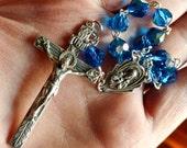 Something Blue....Vintage Swarovski Crystal Article 5300 Capri Blue Sterling Silver Sacred Heart of Jesus Rosary Chaplet