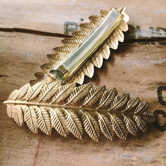Gold Leaf Hairclip // Fern