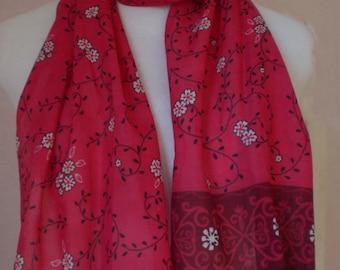 "Fuschia Flower Print Cotton Scarf - 12"" x 60"""