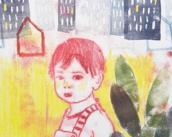 child illustration print, yellow illustration print for home decor, salopette stripes, illustration poster for nursery and baby room,