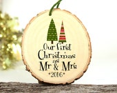 Mr and Mrs Sign - Our First Christmas as Mr and Mrs Ornament - Gifts for Newlyweds - Wedding Gift - Customized Christmas Ornament - XMAS046
