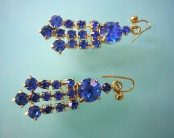 Cobalt Blue Earrings, Blue Rhinestone, Dangle Earrings, Vintage Jewelry, Deco, Gatsby Jewelry, Sapphire, 1920s, Royal Blue, Capri Blue