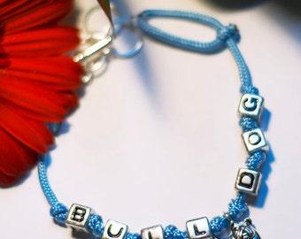 Blue Paracord Bulldog Bracelet