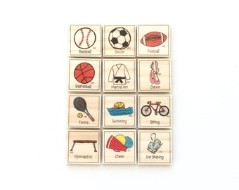 Sports - Magnet Set of 12 - Sports Magnets - Calendar Magnets