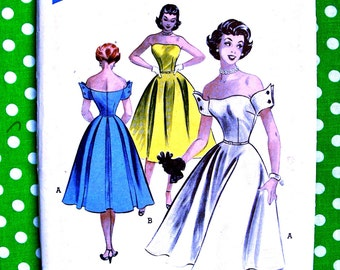 1950s  Butterick Pattern 6133  -   Plunging Off Shoulder Strapless Designer  Dress  *  Size 13 _ Bust 31 - FACTORY FOLDED