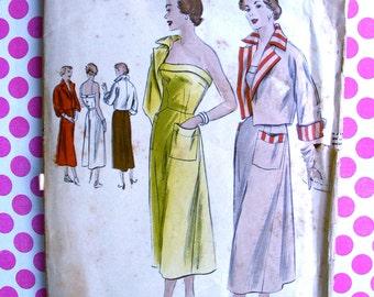 RARE * 1940s  Vogue  Pattern 6808  -  Stunning  Ladies' Strapless Sun Dress & Bolero  - Bust 38 * FACTORY FOLDED