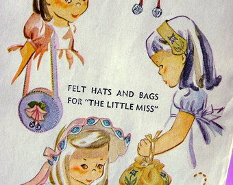 UNCUT  Vintage 1940's Simplicity Pattern 7272 -- Transfers For the Baby Girls Hats and Bags * NOT a COPY