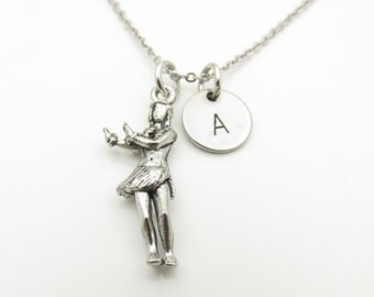 Hula Girl Necklace, Hula Dancer Necklace, Personalized, Initial Necklace, Antique Silver Hula Girl, Hawaiian Girl, Monogram Necklace Y330