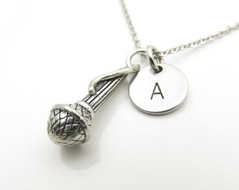Microphone Necklace, Singer Necklace, Music Necklace, Personalized, Initial Necklace, Antique Silver Microphone Charm Necklace Y341