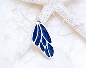 Handcrafted Sterling Silver Blue Morpho Butterfly Wing Necklace Eco Friendly Recycled Silver