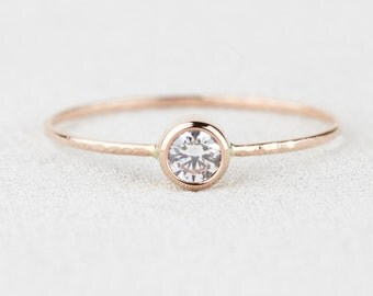 Select a Stone - Delicate Solid 14k Rose Gold Birthstone Ring - Dainty Gold Birthstone Stacking Ring with Gemstone Option
