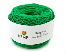 Long Fiber Hemp  Yarn, Sport Weight, 8ply, Knitting Yarn, Grass Green