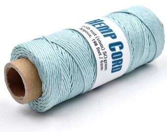 Sky Blue Hemp Cord, 1mm, 198 Feet,  Hemp String  -T107