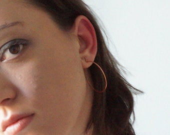 Non pierced copper hoop ear cuff, modern handmade clip earrings, Nobuki collection