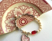 Broken china jewelry, Recycled china heart charm bracelet Antique English transferware sterling silver link, glass pearls