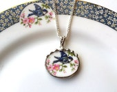 Broken china jewelry pendant necklace antique bluebird china with cherry blossom or apple blossoms