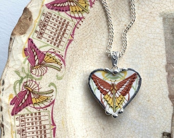 Broken china jewelry heart pendant necklace antique Art Nouveau butterfly luna moth