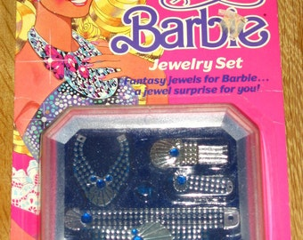 Jewel Secrets Barbie jewelry set MIP, 1986 Blue and Silver unopened