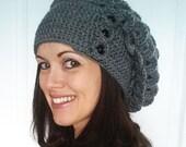 Big Crocodile Stitch Slouch Hat Crochet Pattern Over sized Slouchy 3 button tab women teen celebrity fashion dragon scale headband textured
