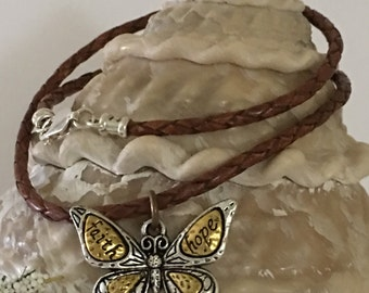 Necklace-Faith-Hope-Affirmation Butterfly Charm Pendant-Brown Bolo Leather Cord-Brass-Silver-Less Than 18 Inches-Flying Insect-Nature Lover