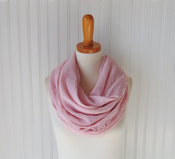 Cotton Gauze Scarf, Summer Scarf, Infinity Scarf, Tea Rose Pink Scarf, Light Pink Scarf, Circle Scarf, Gift Idea for Her