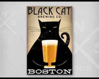 Personalize Customize -  Fat Cat Brewing Company Black Cat Graphic Art Illustration Stretched Canvas Wall Art