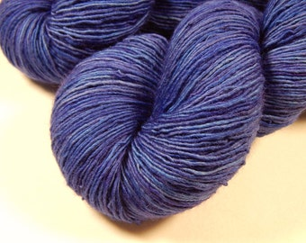 Hand Dyed Sock Yarn - Sock Weight Superwash Merino Wool Singles Yarn - Cobalt - Knitting Yarn, Sock Yarn, Wool Yarn, Blue Tonal Yarn