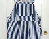 Vintage 80s Short-alls / Blue & White Stripes / Cotton Overall Shorts - m/l